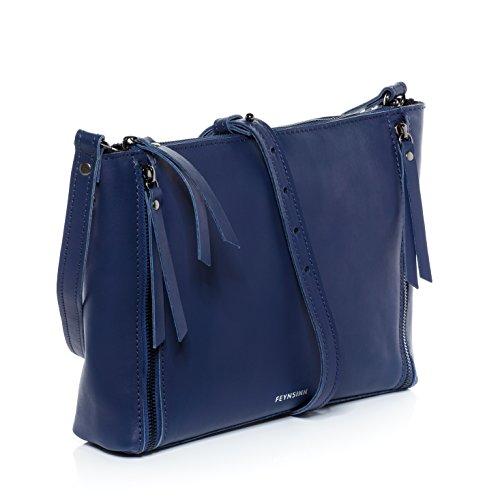 FEYNSINN clutch JEMMA leather amp; laptop woman ipad indigo ZIP bag shoulder bag fits Indigo bag real inch hobo handbag women´s BrwUrtx