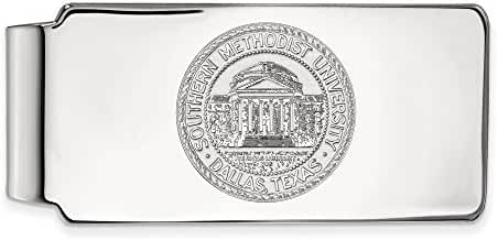 14k White Gold LogoArt Official Licensed Collegiate Southern Methodist University (SMU) Money Clip Crest