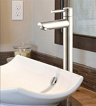 Grifo alto de acero inoxidable para lavabo de cocina o baño, grifo de agua fría