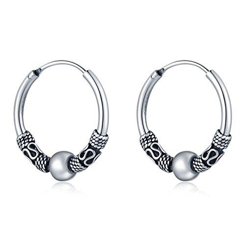 (MBLife 925 Sterling Silver Oxidized Bali Tribal Style Hoop Earrings (Diameter 0.8