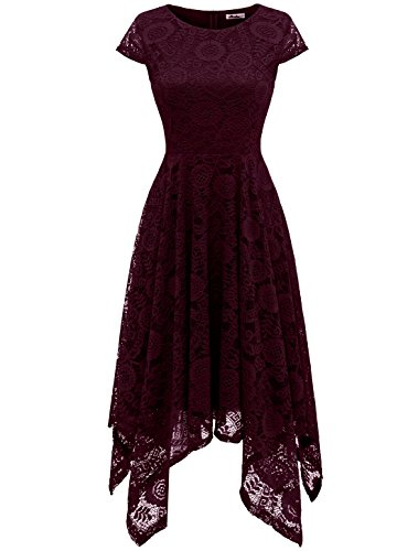 AONOUR AR8009 Women's Floral Lace Cap Sleeve Handkerchief Hem Cocktail Party Swing Dress Burgundy -