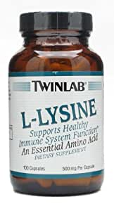 Twinlab Amino Acid L-Lysine, 500 Milligram - 100 capsules per pack -- 6 per case.