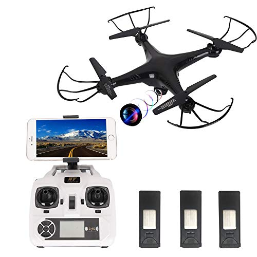 Drone with Camera Live Video 720P,HT Drone Quadcopter with Altitude Hold,App Controlled Drone with 3 Batteries
