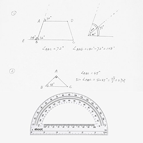 eBoot Plastic Protractor Math Protractors 180 Degrees, 6 Inches, Clear, Pack of 2 by eBoot (Image #5)
