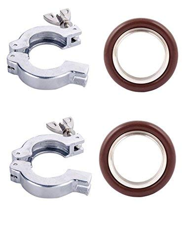 2 Sets KF-50 Aluminium Clamp Ring + KF50 Stainless Steel 304 Centering Ring FKM