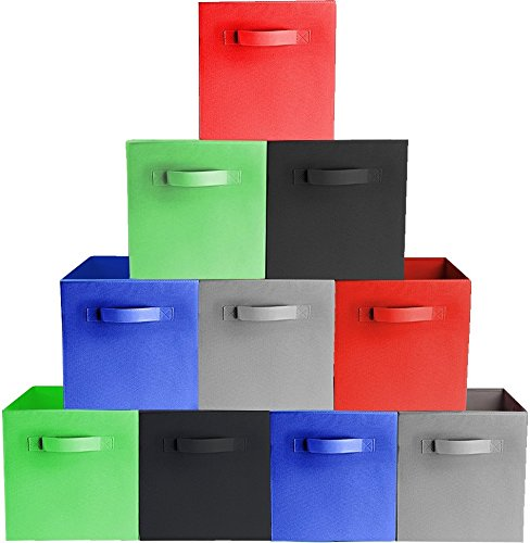 Prorighty [10-Pack, 5 Colors] Storage Bins, Containers, Boxes, Tote, Baskets| Collapsible Storage Cubes for Household Organization | Fresh Durable Fabric & Cardboard (Red,Black,Blue,Grey,Green) ()