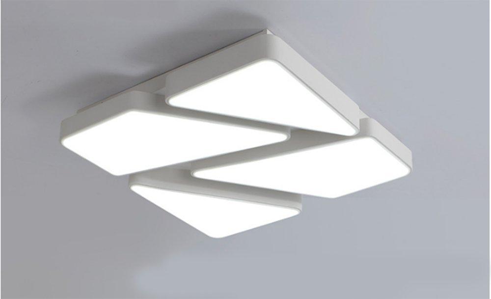 MeloveCc Luz de techo El moderno minimalista dormitorio sala de estar comedor creatividad iluminación Cuadrado personalidad hogar de tres Shade Light.62 * 62cm 48W blanco