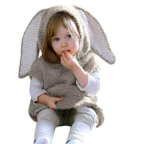 Birdfly Super Cute Baby Girl Knit Sweater Rabbit Hoodie for Photography (3-6M, Gray) -