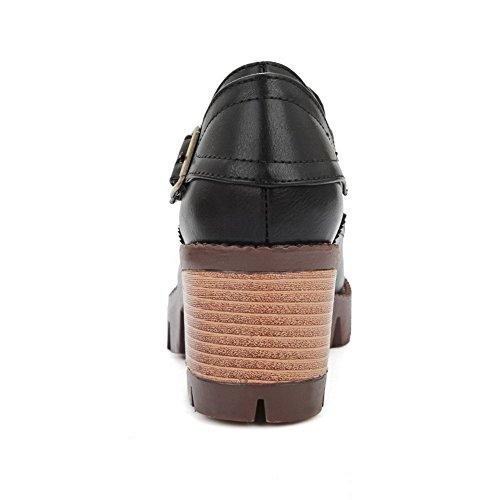 AllhqFashion Damen Rund Zehe Mittler Absatz Weiches Material Rein Ziehen auf Pumps Schuhe Schwarz