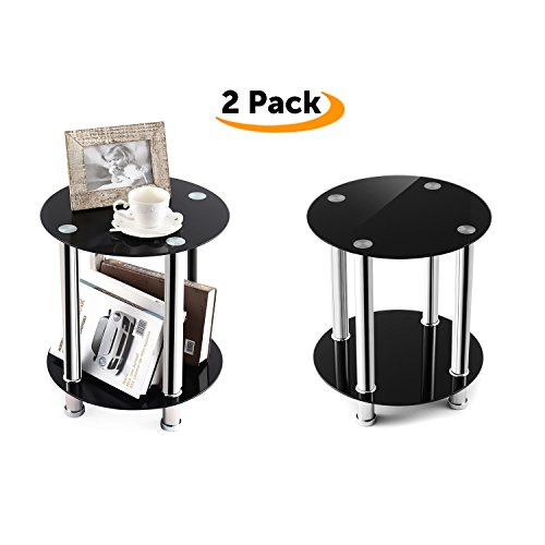 TAVR End Table,Sofa Table,Night Table,Coffee Table,with Safty Tempered Glass Shelves,Set of 2, Round ET4001