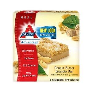 Atkins Advantage Bars Peanut Butter Granola, 5 CT Advantage Peanut Butter Granola