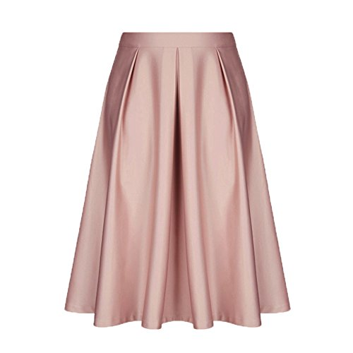 DEATU Women Skirt Ladies Elegance Vintage Solid Princess Ruffled Cocktail Party A-line Swing Skirt(Pink ,2XL)