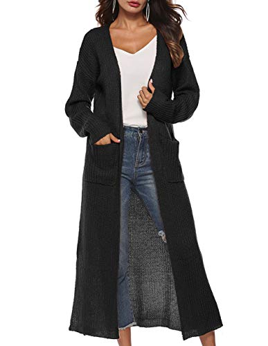 - Womens Casual Long Sleeve Split Hem Open Front Cardigan Long Maxi Cardigan Sweaters longine dusters Black
