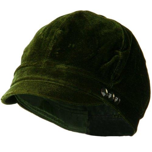 Gaby Velvet Newsboy Hat - Olive OSFM