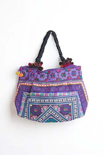 Changnoi Hill Tribe Tote Bag Hmong Embroidered Fabric Large Size Thai Fair Trade (Diamond Purple)