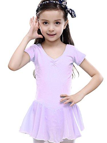 Girls Gymnastics Leotard Costume Short Sleeve Ballet Dance Dress Samba Rumba Active Dancewear - Purple - Simple Rumba Costume