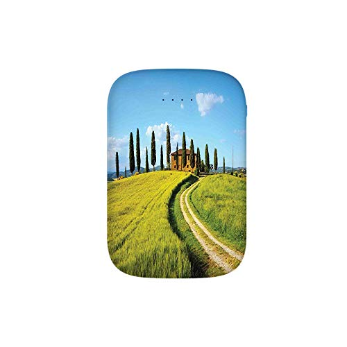 Scenic Landscape of Village Greenery Trees Blue Sky Rustic House Portable Charger 10000mAh Power Bank External Battery Backup Pack Fast Charger for iPhone,Samsung Galaxy and More