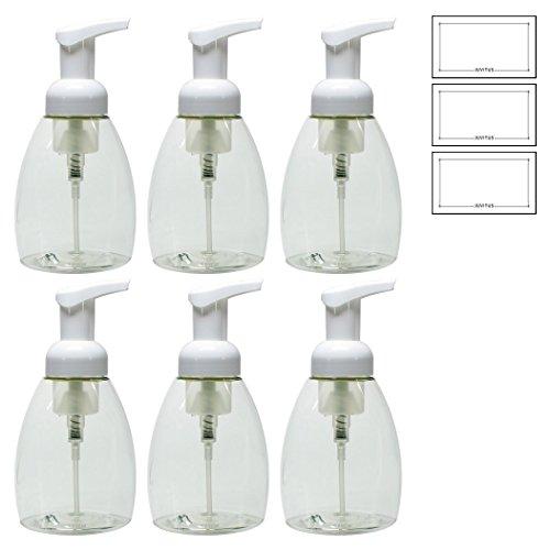 Clear PET BPA Free Plastic Refillable Travel Foamer Pump Bottle - 250 ml / 8.3 oz (6 Pack)