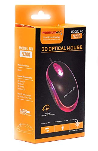 PremiumAV 3D Optical Wired USB Mouse in Black