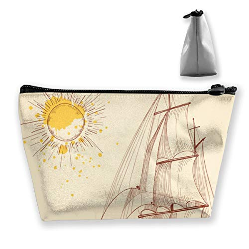 Maple Memories SailBoat Under Sun Travel Cosmetic Bag Cute Makeup Bag For Women
