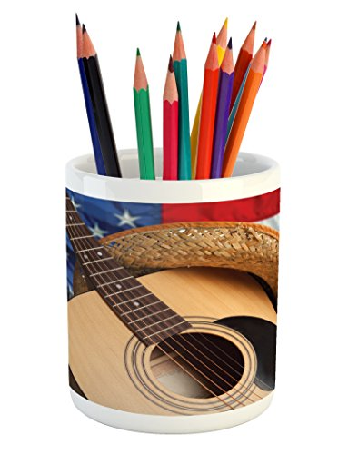 Lunarable Western Pencil Pen Holder, Country Music Acoustic Guitar with American Flag Popular Fourth of July Festive Photo, Printed Ceramic Pencil Pen Holder for Desk Office Accessory, Multi