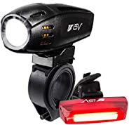 BV Super Bright USB Rechargeable Bike Light Set, Headlight with Free Taillight, Three Light Modes, Water Resis