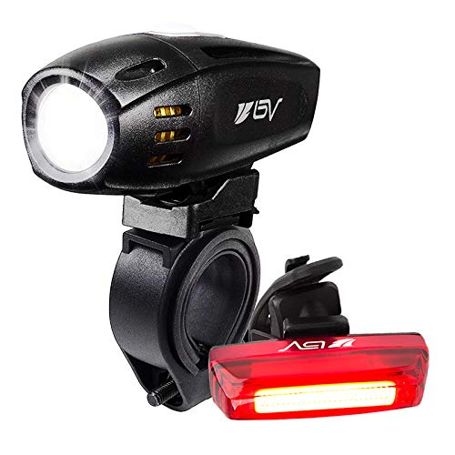 BV Super Bright USB Rechargeable Bike Light Set, Headlight with Free Taillight, Three Light Modes, Water Resistant IP44…