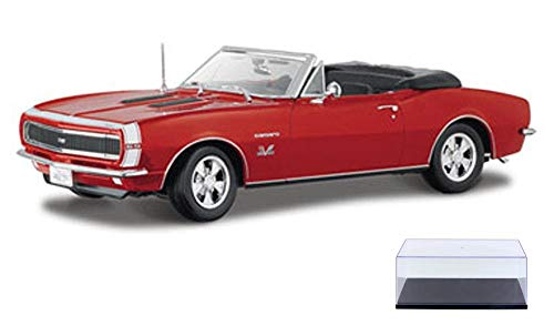 Diecast Car & Display Case Package - 1967 Chevy Camaro SS 396 Convertible, Red - Maisto 31684 - 1/18 Scale Diecast Model Toy Car w/Display Case