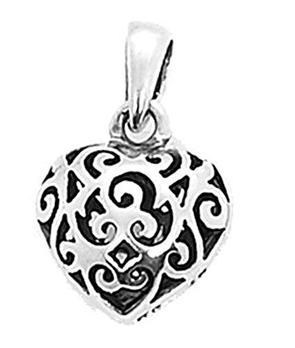 Sterling Silver Filigree Puff Heart Charm/Pendant Vintage Crafting Pendant Jewelry Making Supplies - DIY for Necklace Bracelet Accessories by CharmingSS