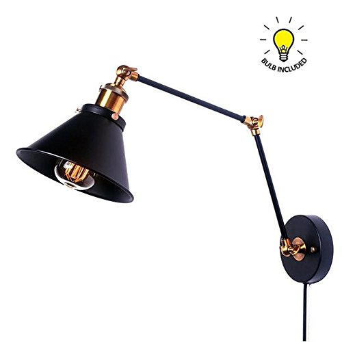 Kiven Swing Arm Wall Lamp Adjustable Wall Sconces Plug-in Sconces Wall Lighting (with plug 1.8m black switch line ),bulb included - Fixed Arm Wall Lamp