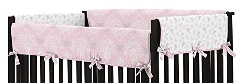 Sweet Jojo Designs Baby Crib Long Rail Guard Cover for Pink, Gray and White Shabby Chic Alexa Damask Butterfly Bedding Collection