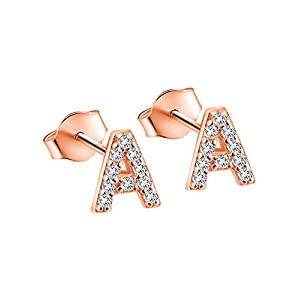 Paialco Rose Gold Plated Sterling Silver CZ Initial Letter Stud Earrings Alphabet A-Z
