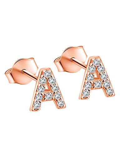 14K Rose Gold Plated Sterling Silver CZ Initial Letter A Stud Earrings