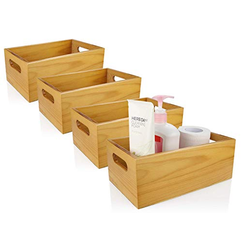 A+Selected Pine Wood Organizer Open Box 4 Packs, 6x10 Wooden Storage Container with Handle for Bathroom and Kitchen