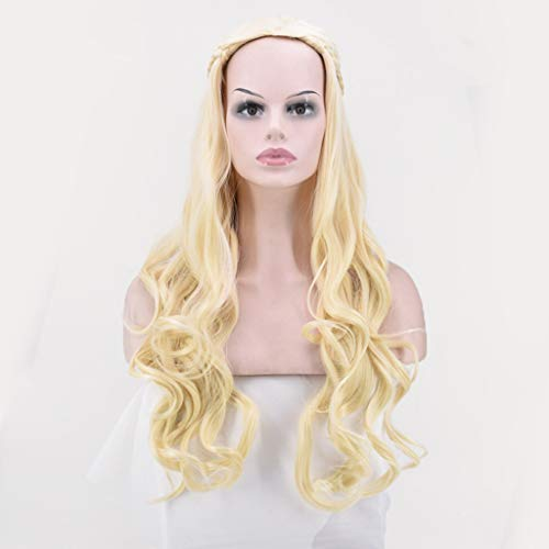 Hot Sale!Khaleesi Costume Wig - Daenerys Targaryen Cosplay Wig for Game of Thrones Season 7 Long Wavy Curly Synthetic Fiber Hair (Gold)