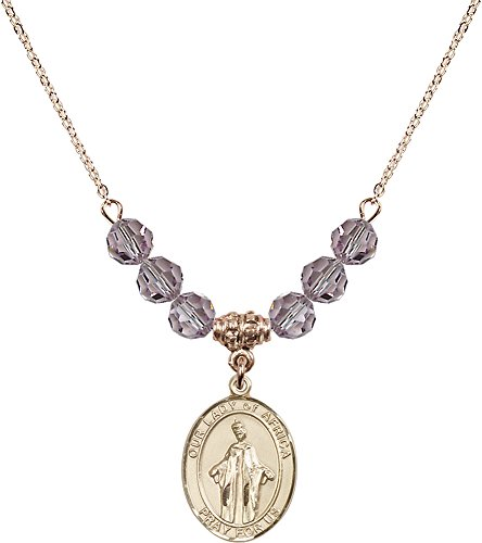 18-Inch Hamilton Gold Plated Necklace with 6mm Light Amethyst Birthstone Beads and Gold Filled Our Lady of Africa Charm. by F A Dumont