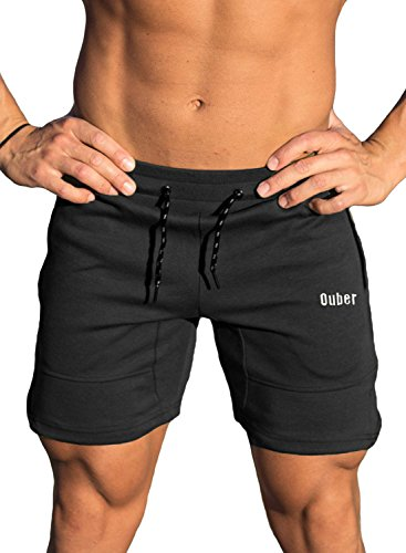 Full Length Front Pocket - Ouber Men's Running Shorts Athletic Gym Jogging Workout Powerlifting with Front Pockets (Black,S)