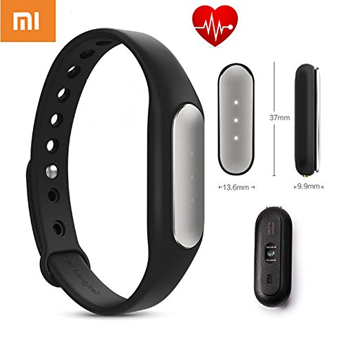 100% Original Xiaomi Mi Band 1S Aktivitätstracker mit Pulsmesser Sleeptracker Vibrieren erinnern Wireless Charging Bluetooth 4.0 Funktion für Mi3 Mi4 Redmi iPhone und Android Handy (schwarz mit Herzfrequenz-Messgerät)