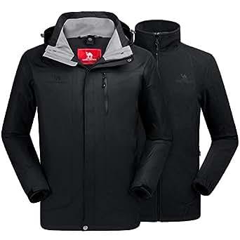 CAMEL CROWN Men's Ski Jacket 3 in 1 Waterproof Winter Jacket Snow Jacket Windproof Hooded with Inner Warm Fleece Coat Black