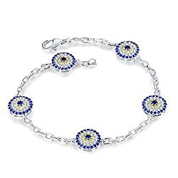 White Gold Genuine Sapphire Diamond Bracelet