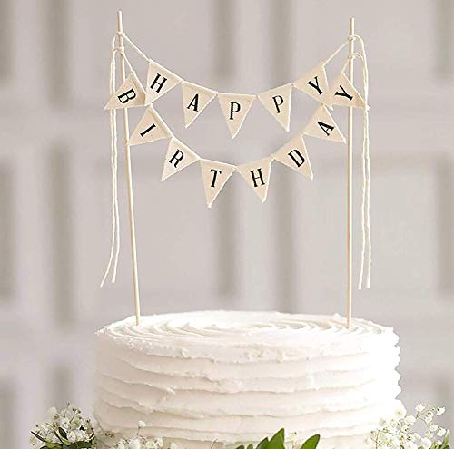 Happy Birthday Cake Topper Banner - Handmade Ivory Pennant Flag Banner Cake Topper with Wooden Polls - Perfect for cakes, donut cakes, cupcakes (Flag Banner) ()