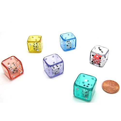 Set of 6 D6 19mm Double Dice Assorted Colors
