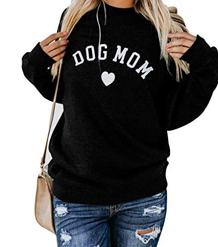 Heymiss Womens Tops Dog Mom Shirt Long Sleeve O Neck Letter Print Sweatshirts Black M
