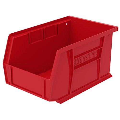 Akro-Mils 30237RED Plastic Storage Stacking Hanging Akro Bin, 9-1/4-Inch by 6-Inch by 5-Inch, Red (Pack of 12) by Akro-Mils