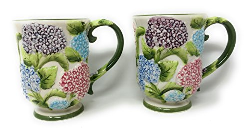(Temp-tations S/2 Coffee Mugs, TWO Cafe Mug Set, 12 oz Pedestal Cup (Hydrangea))
