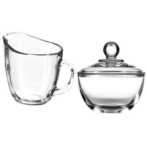 Anchor Hocking Presence Creamer and Sugar Set Includes Glass Creamer Dispenser Pitcher and Glass Sugar Bowl with Lid - Bundle of 2 (Glass Hocking Bowl Anchor Milk)