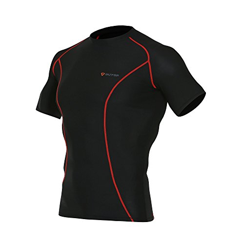 Cycle Mens Compression (OUTOF Men's Sports & Outdoors Short Sleeve T-Shirts Baselayer Cool Dry Compression Top Running Yoga Rashguard Large Black)
