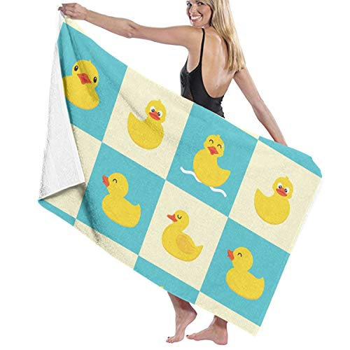PTYHR Beach Towels - Polyester & Cotton Bath Towel - Funny Rubber Duck, Luxury Quick Dry Towels for Daily Use Moisture Wicking for Kids & Adults Guest Body,70x40 inches Duck Jacquard Bath Towel