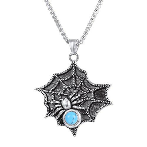 U7 Vintage Spider Web Pendant Chain 22