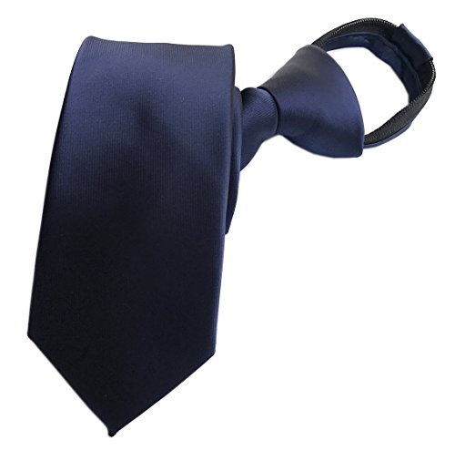 Elfeves Men's Classic Navy Blue Tie Solid Color Necktie Best Gift for Boyfriend